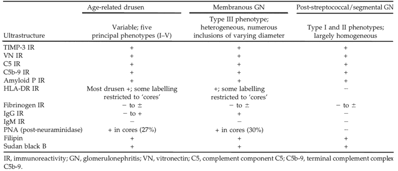 Comparison of Drusen Types. The various characteristics on histochemical, immunochemical, and ultrastructural evaluation of patients with age-related drusen, membranous glomerulonephritis, and post-streptococcal glomerulonephritis. Table appears in Mullins et al. 2001 [10]. Reproduced with permission.